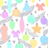 Ink hand drawn seamless pattern with christmas tree ornament. For textile, wallpaper, wrapping, web backgrounds and other pattern fills Stock Photo