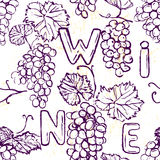 Ink hand drawn seamless pattern with grape Royalty Free Stock Photos