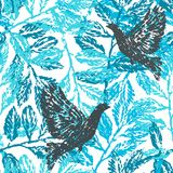 Ink hand drawn seamless pattern with laurel branches and pigeons stock illustration