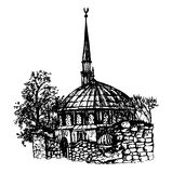 Ink hand drawn sketch view of the mosque in Istanbul, graphic  illustration Stock Photo