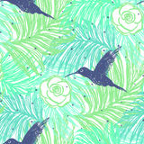 Ink hand drawn Summer seamless pattern with Hummingbirds Stock Image