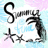 Ink hand drawn Summertime Tropical illustration Stock Photo