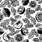 Ink hand drawn tea with lemon seamless pattern with fruit slices Stock Photography