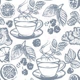 Ink hand drawn Tea seamless pattern with Ginger, Raspberries, Lemon and Mint Royalty Free Stock Image