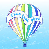 Ink hand drawn vector air balloon background with place for text Stock Image
