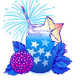 Ink hand drawn vector card July 4th Independence day party Royalty Free Stock Image