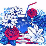 Ink hand drawn vector card July 4th Independence day party. Vector background. design elements ready for creative use on July 4th Stock Image