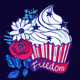 Ink hand drawn vector cupcake among flowers on 4th of July. Vector background. design elements ready for any creative use royalty free illustration