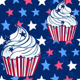 Ink hand drawn vector cupcake seamless pattern on 4th of July Stock Photography