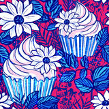 Ink hand drawn vector cupcake seamless pattern on 4th of July Royalty Free Stock Images
