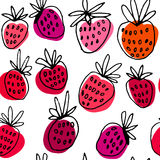 Ink hand drawn vector pattern with strawberry. Stock Images