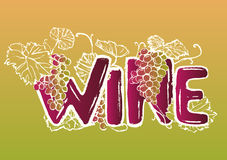 Ink hand drawn wine lettering Stock Image