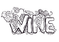Ink hand drawn wine lettering Stock Photos