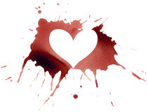 Ink heart. Decorative splash with heart silhouette Stock Images