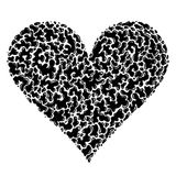 Heart Shape - Inkblot Patterns. A free-hand drawing using inkblot-style shapes & patterns that fit together to form a heart. Colour palette: Black & white vector illustration