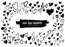Ink hearts for valentines design creation. 100 Ink heart drawn by hand to create a design for Valentines Day royalty free illustration