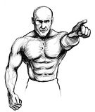 Fighter pointing at you. Ink illustration of an angry fighter pointing at you Stock Image