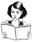 Girl reading a book. Ink illustration of a girl reading an interesting book Stock Images