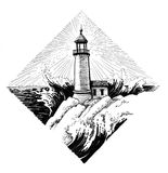 Lighthouse in diamond shape. Ink illustration of a lighthouse on the seashore vector illustration