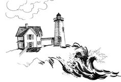 Old lighthouse. Ink illustration of an old lighthouse on a seashore royalty free illustration