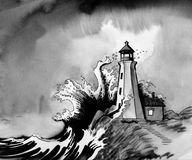 Lighthouse in stormy sea. Ink illustration of an old lighthouse in stormy sea stock illustration