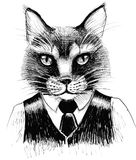 Serious cat. Ink illustration of a serious cat character in suit Stock Images