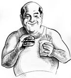 Fat man eating fast food Royalty Free Stock Images