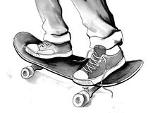 Feet on a skateboard. Ink illustration of a teenager feet standing on a skateboard Royalty Free Stock Photos