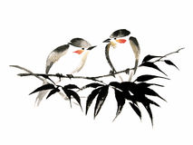 Ink illustration of two birds on bamboo. Sumi-e style. Stock Photo