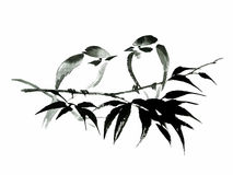 Ink illustration of two birds on bamboo. Sumi-e style. Stock Photos