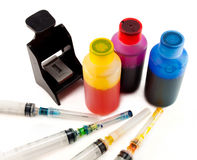 Ink for inkjet printer. A set of ink for refilling inkjet printers Royalty Free Stock Photography