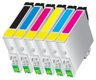 Ink-jet cartridge for bubble-jet of Printers. Six colors ink-jet cartridge for desk-jet type of printers Stock Photos