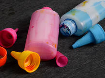 Ink jet color bottles Royalty Free Stock Photos