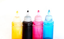 Ink jet colors, bottles of a priting paints Stock Images