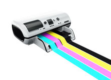 Ink-jet printer with printed CMYK lines Stock Images