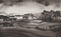 Ink landscape royalty free illustration