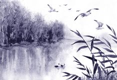 Ink Landscape with Birds and Reeds. Watercolor painting.  Hand drawn  illustration. Monochrome  serenity nature scene with lake,  trees, flying  birds and reeds Stock Image