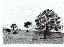 Ink landscape stock illustration