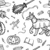 Ink line illustration for Halloween. Stock Images