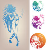 Ink linework dancing girl in carnival feather cost. Inked line work gorgeous pretty smiling young woman dancing in carnival feather costume Royalty Free Stock Photography