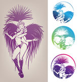 Ink linework dancing girl in carnival feather cost. Inked line work gorgeous pretty smiling young woman dancing in carnival feather costume Royalty Free Stock Photo