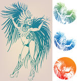 Ink linework dancing girl in carnival feather cost. Inked line work gorgeous pretty smiling young woman dancing in carnival feather costume Stock Photo