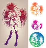 Ink linework dancing girl in carnival feather cost. Inked line work gorgeous pretty smiling young woman dancing in carnival feather costume Stock Photography