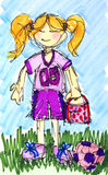 Ink little girl football soccer player with colors. Original sketch of a happy little girl with lunchbox ready to play football or soccer with her ball on the Stock Photography