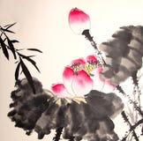 Ink lotus painting hand drawn bird Stock Photo