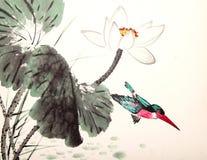 Ink lotus painting hand drawn bird Royalty Free Stock Images
