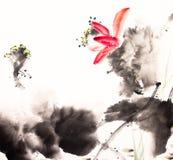 Ink lotus painting hand drawn Stock Photos