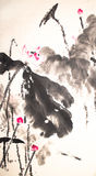 Ink lotus painting hand drawn Royalty Free Stock Images