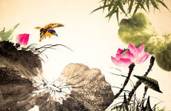 Ink lotus painting hand drawn Stock Photography