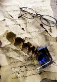 Ink & Old manuscript Stock Photo